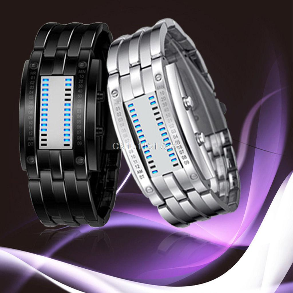 Deluxe Luxury Waterproof LED Electronic Women Stainless Steel Wristwatches Blue Binary led Displayer Luminous Sports Watches(China (Mainland))