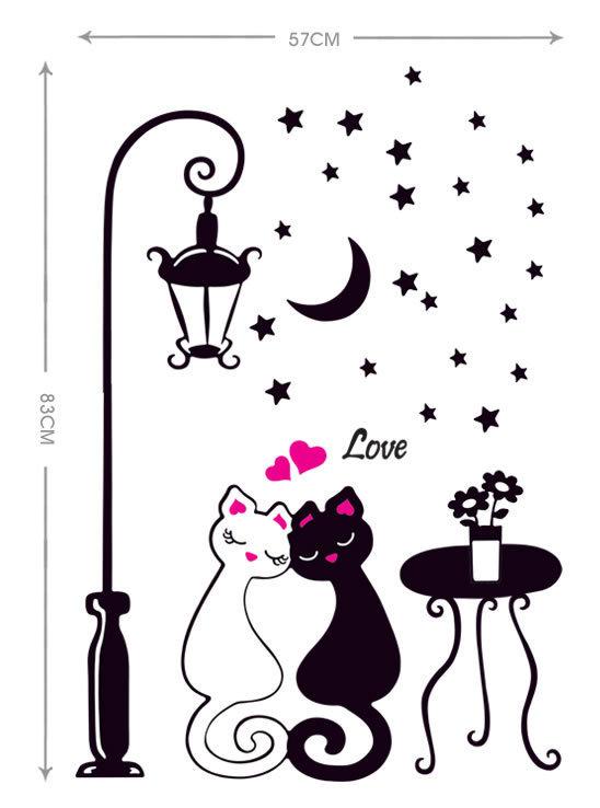 Dekorasi rumah dekorasi pasangan lucu kucing stiker for Dekorasi kamar