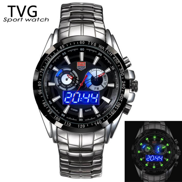 2015 полный нержавеющей стали твг мода ночного видения для мужчин цифровой аналоговый спортивные часы мужские водонепроницаемые Relogios Masculino мужской