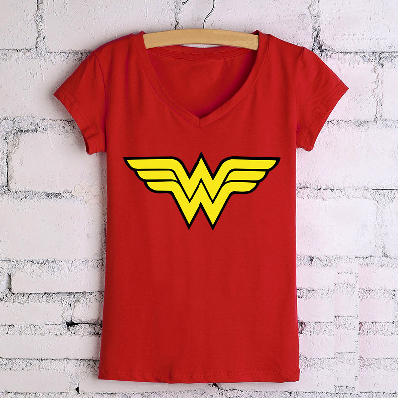 Wholesale Women T Shirts Wonder Woman Logo Comics Printed V-Neck T-shirt Cotton Top Tee Shirts Clothing Camiseta Short Sleeve(China (Mainland))