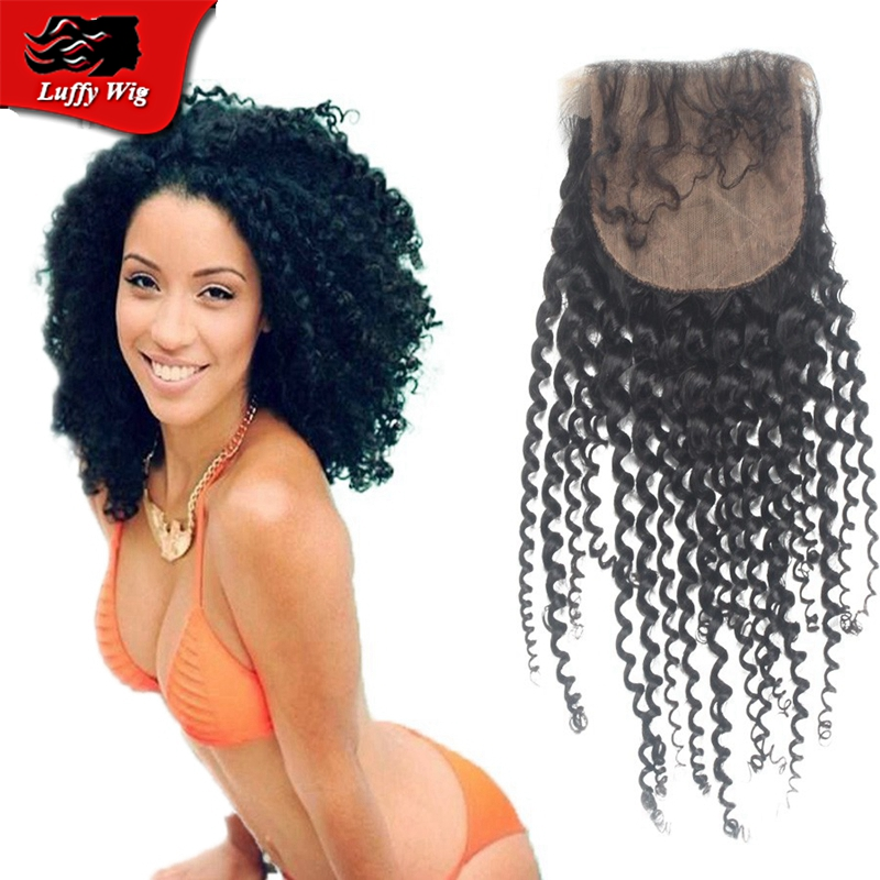 Kinky Curly Silk Base Closure Brazilian Virgin Human Hair 4x4 Silk Lace Closure Bleached Knots Free Middle 3 part Silk Closures<br><br>Aliexpress