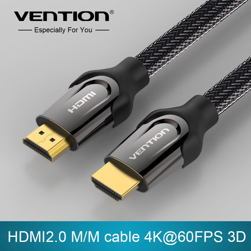 Vention HDMI Cable 1m 2m 3m 5m HDMI to HDMI cable HDMI 2.0 4k 3D 60FPS cable for HD TV LCD laptop PS3 projector computer cable(China (Mainland))