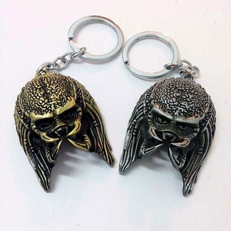 2015 New Predators Alien vs. Predator The Head 3D Keychain AVP Silver /Bronze 2 color Metal Key Chain Ring 12pcs/lot