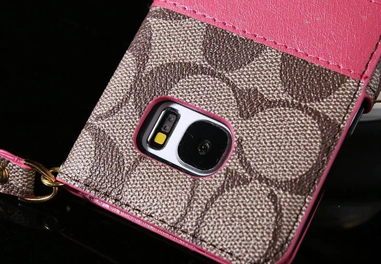 For GalaxyS6 S7 edge plus Note 7 Fashion Luxury COACHS Capa Leather Flip Wallets Case for iPhone 7 6 6s plus 5 5s SE 7plus Cover