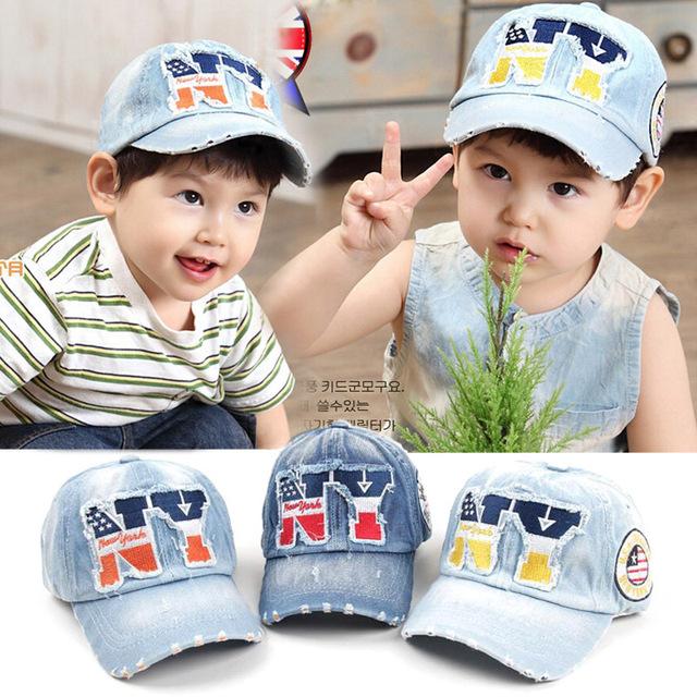 Дети хлопок шапки мальчики бейсболки лето джинсовый шляпы дети шапки девочки бейсбол кепка 3 - 8 возрастов младенцы шляпа дети gorras