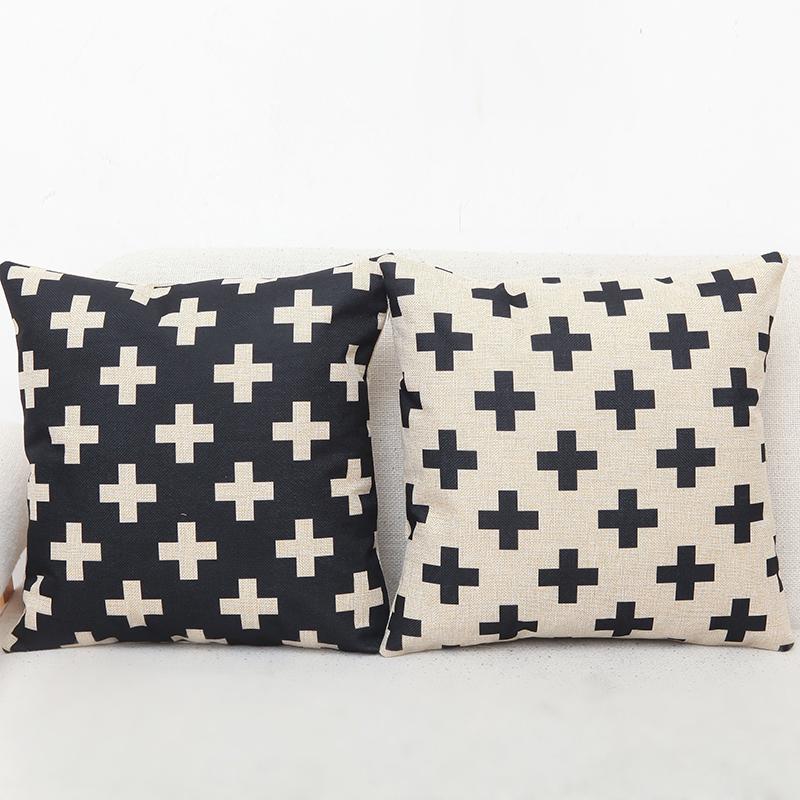 Cotill Geometric White Black Cushion Cover Decorative Throw Pillow Linen Cushion Cover Cushion Case Sofa Bed Decorative Pillows(China (Mainland))