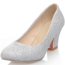 Gold Silver Mary Janes Platform Pumps Shoes Sequined Chunky Heel High Heel Shoes Wedding Party Pumps Big Size 34-43