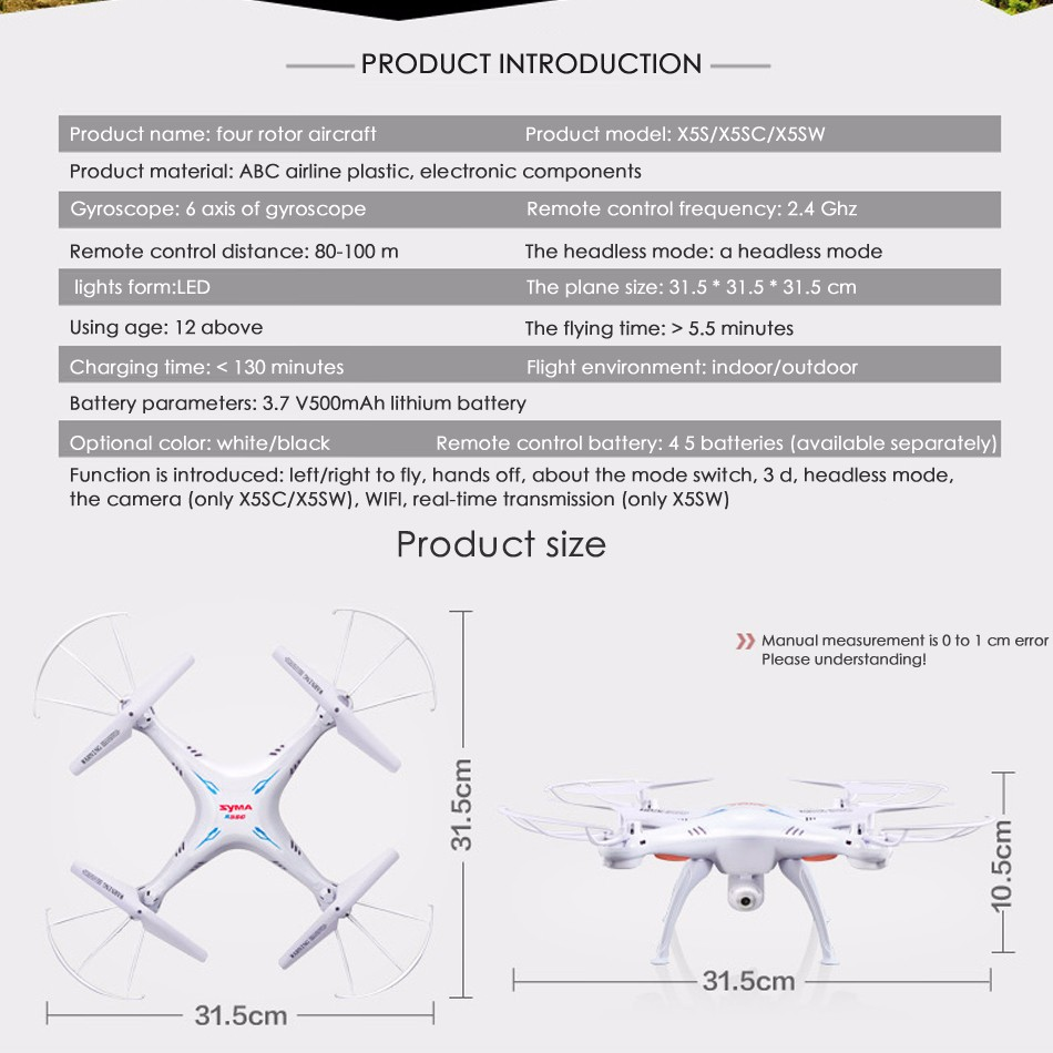 Syma X5SW wifi rc drone quadcopter with camera fpv headless-axis real-time quad copter rc helicopter toys