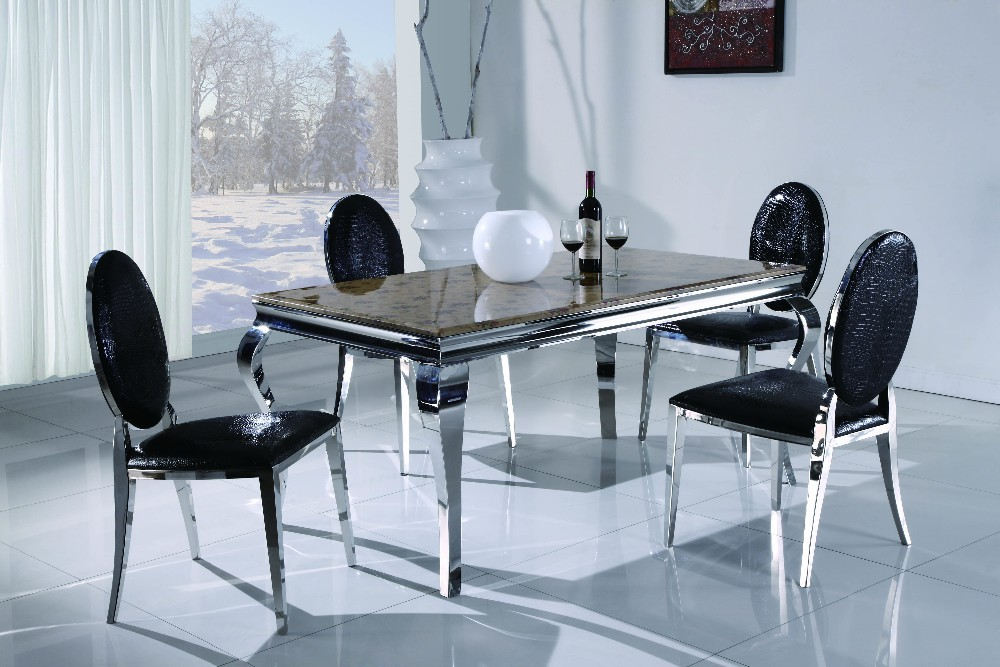 Hot Sell Table Modern Living Room Furniture Stainless Steel Dining Table 806T