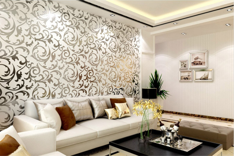 New Wallpaper Modern PVC 3D Silver Wall Paper Roll For Wall TV Sofa Background Living room Bedroom(China (Mainland))