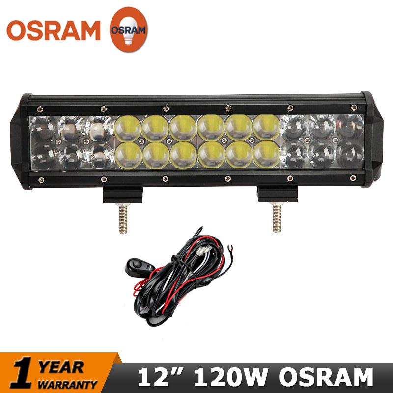 OSRAM 4D LED light bar 12 inch 120W Car Led Offroad Work Light Bar Beam Combo for 12V 24V 4x4 ATV Pickup Camper 4WD Truck SUV<br><br>Aliexpress