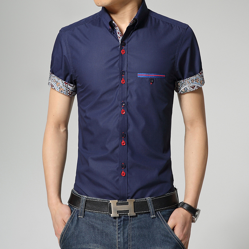 2015 New Arrival Summer Style Men Shirt Fashion Short Sleeve Casual Shirt Solid Color Slim Fit