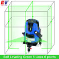 KaiTian Laser Level Green 5 Lines 6 Points with 360 Rotary Slash Function Outdoor EU 532nM