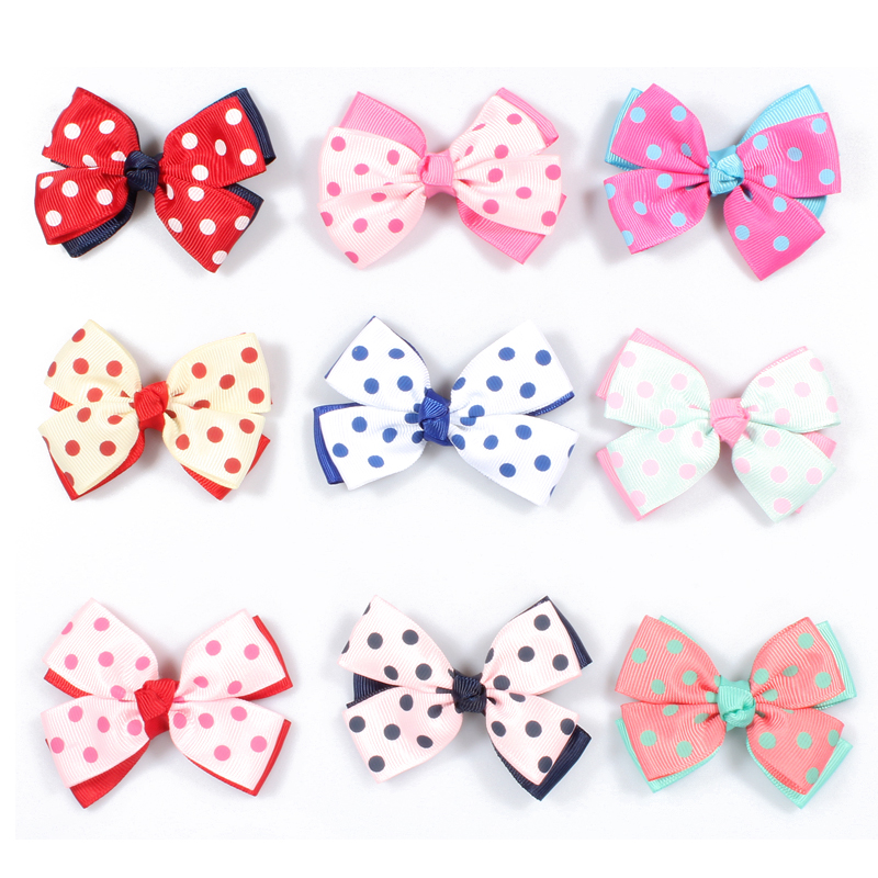 """50pcs/lot 3"""" 9colors Double Grosgrain Dot Ribbon Flower Bows with Clip Baby Girls Organza Hair Bows For Toddle Hair Accessories(China (Mainland))"""