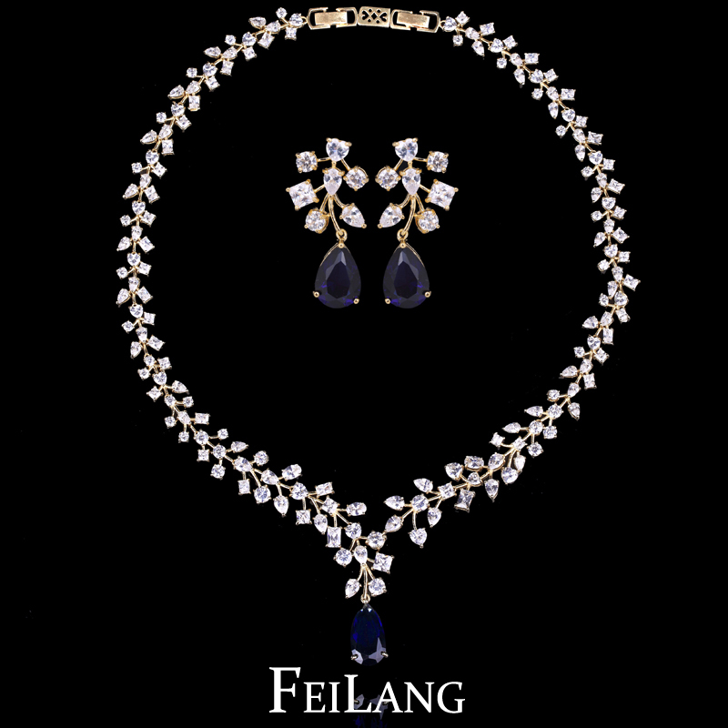FEILANG Brand Design 18k Gold Dark Blue Stone Zircon Necklace Earrings Wedding Jewelry Sets Bridal Best Gift (FSSP072E)