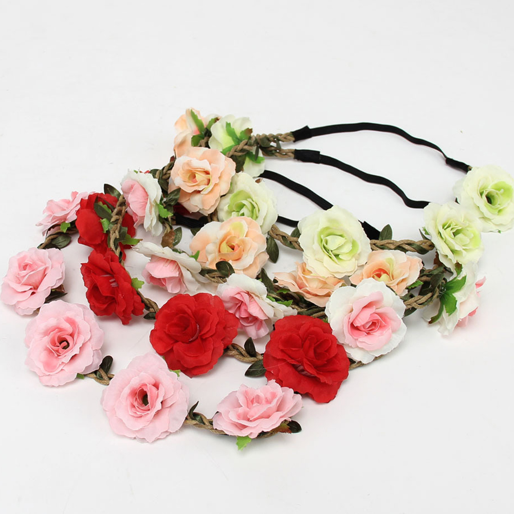 Wedding Bride Floral Garland Bohemian Flower Headband Festival Summer Rose Flowers Hairband Tiara Women Hair Band Accessories(China (Mainland))