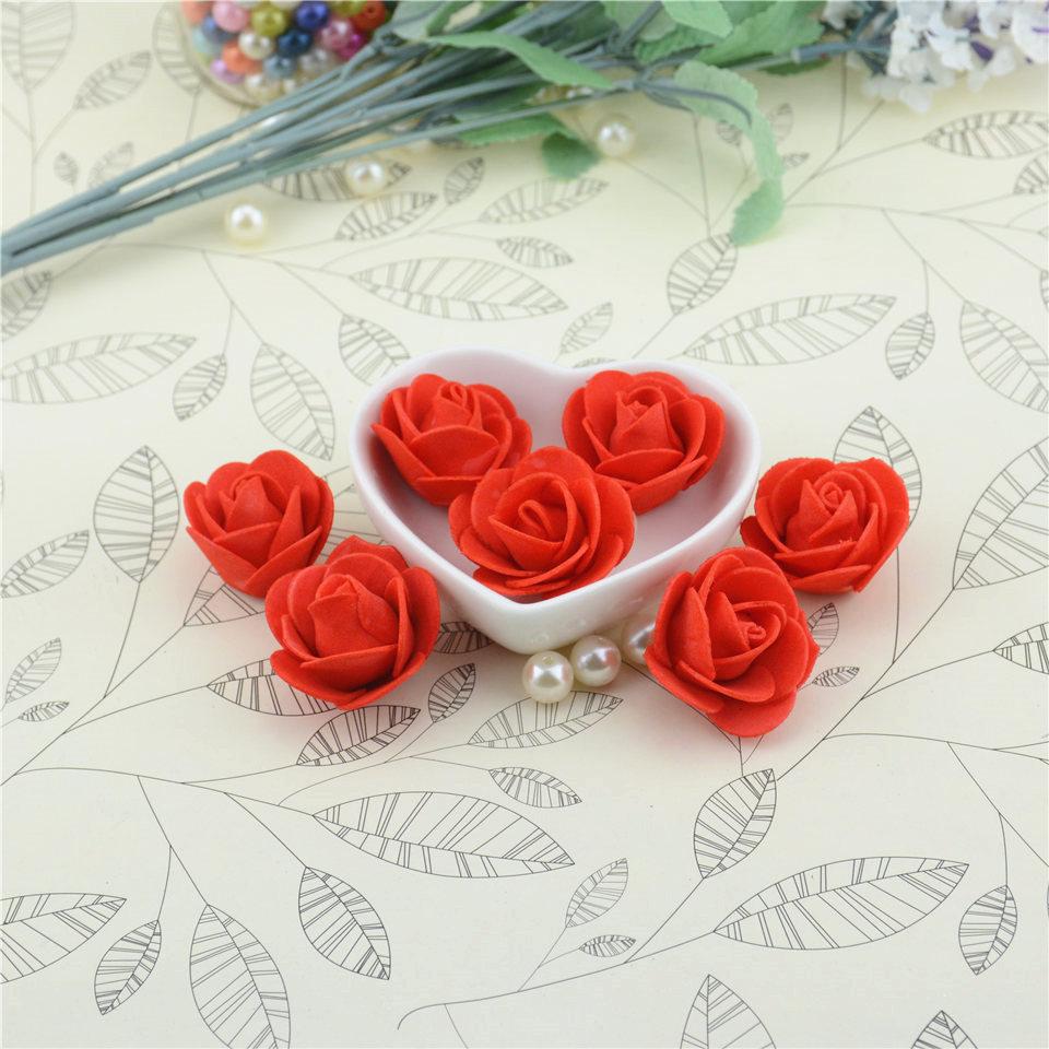 Cheap 10pcs Mini PE Foam Artificial Rose Flowers For Wedding Car Decoration DIY Wreath Decorative Scrapbooking