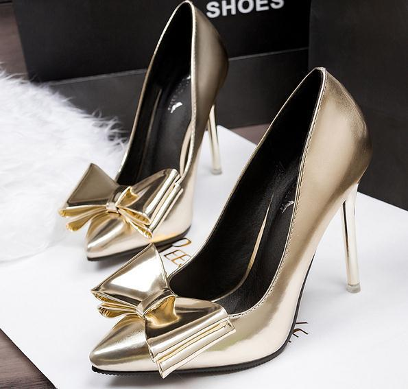Fashion silver pointed toe metal shiny high-heeled shoes bow thin heels single shoes gold wedding shoes bride shoes(China (Mainland))