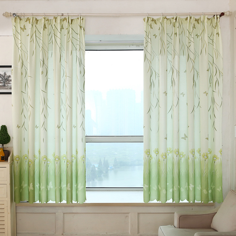 Willow Leaf Butterfly Printed Short Blackout Curtains For Kitchen Bedroom Balcony Living Room