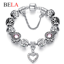 Original European Silver Plated Murano Glass Beads Charms Bracelet Fit Original Bracelet for Women Authentic Jewelry PS3495(China (Mainland))