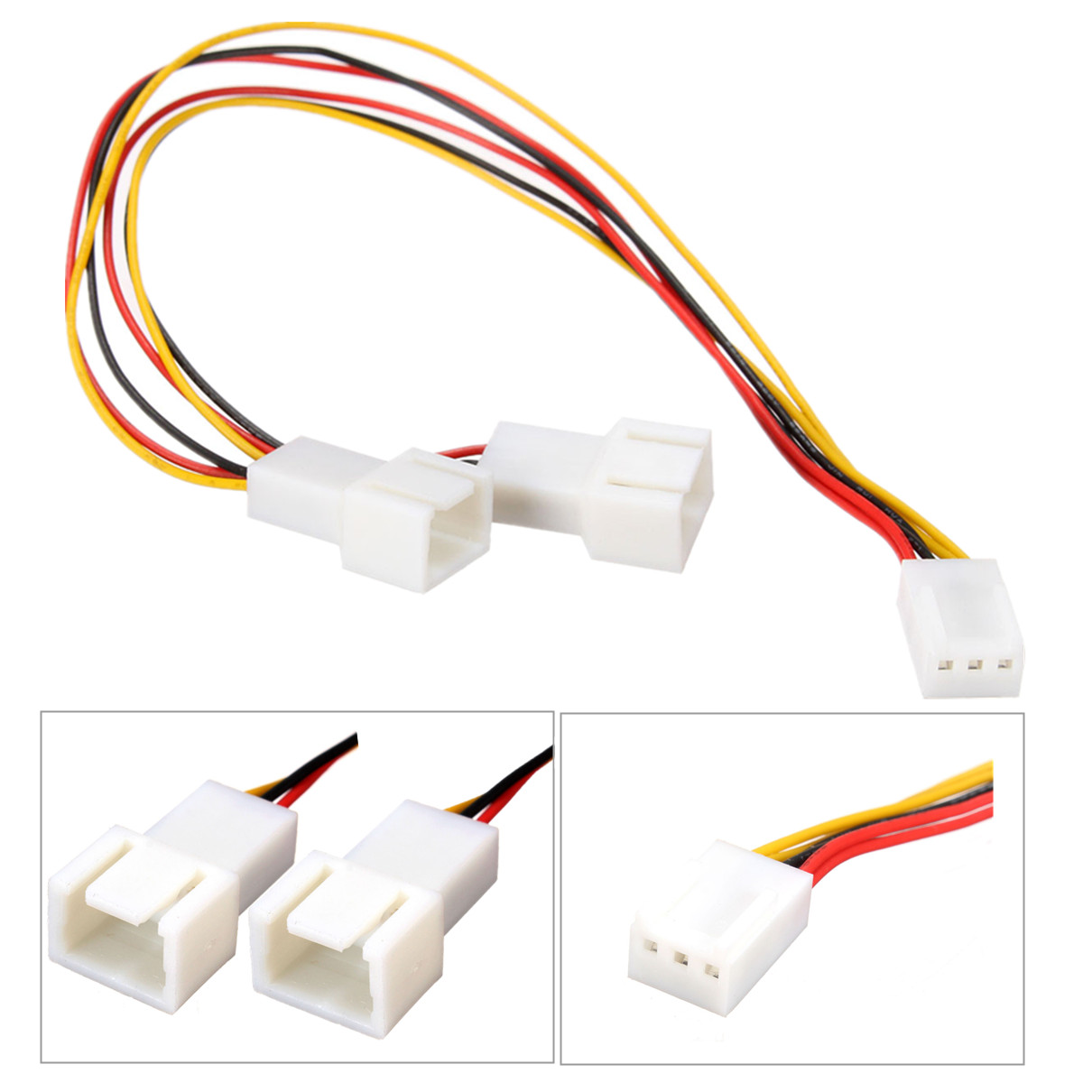 3 Pin to 2 3 Pin PC Computer Case Fan Y Splitter Connector Extension Cable Adapter(China (Mainland))