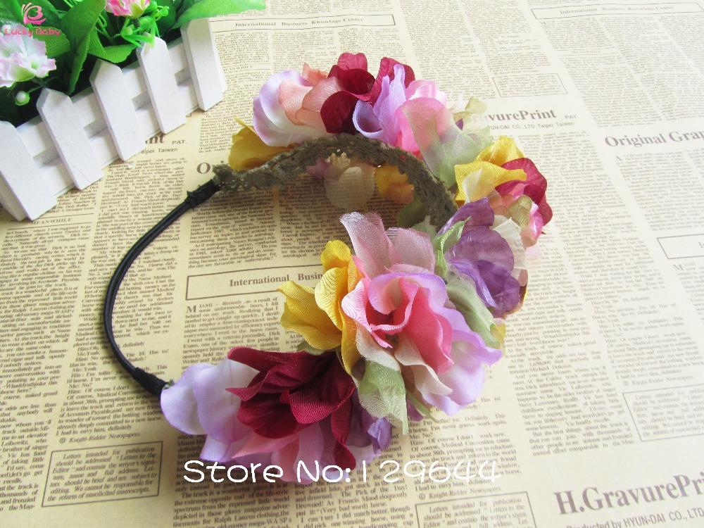 Mujeres de moda de aro principal Boho accesorios para el cabello niñas adornos de pelo moda tela nupcial corona de flores flor 10 unids/lote en Accesorios