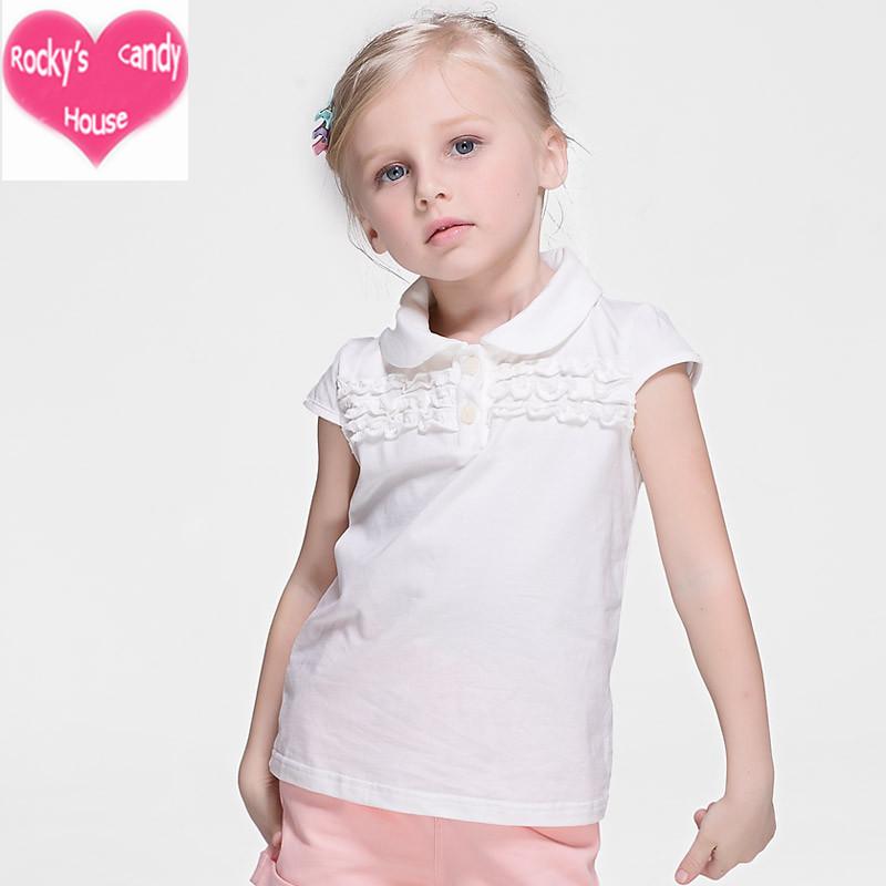 Brand Teenage Girl Solid Cute T Shirts Turn Down Collar Petal Short Sleeve Children's T Shirts Stringy Selevdge Polo Shirts(China (Mainland))