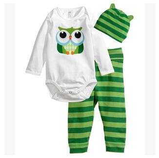 Baby boy fashion style 3pcs(Long-sleeved Romper+hat+pants)baby boy clothes 2015 new character clothing set baby boy Freeshipping(China (Mainland))