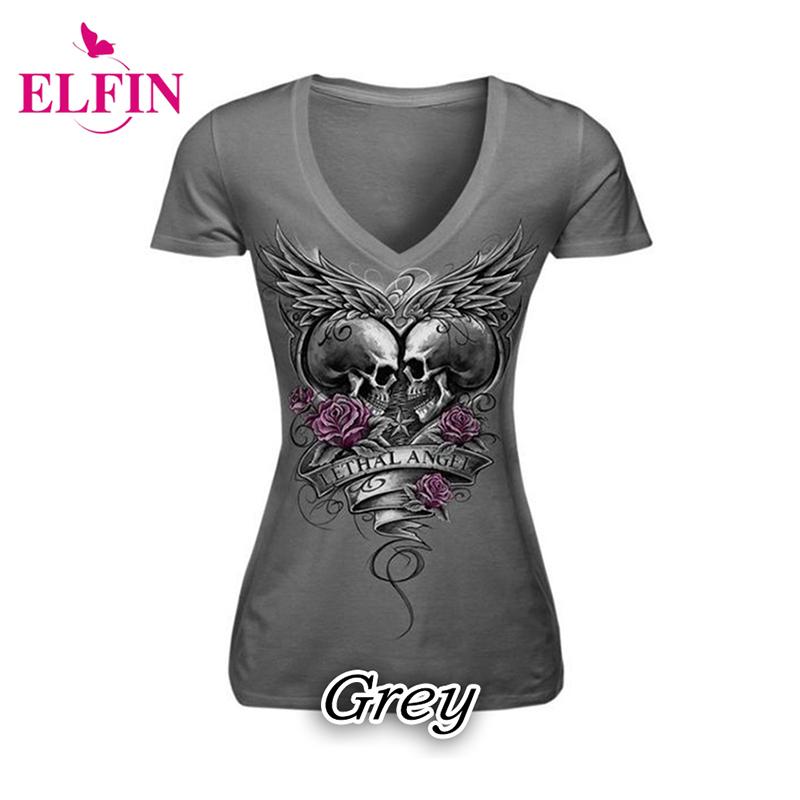Skull Print T-Shirt Causal Women Short Sleeve V-Neck Punk Style Skull Print T-Shirt Tee Tops S-5XL Women Clothing LJ8593R