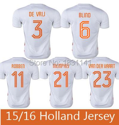 2015 2016 Camisa Holanda Soccer Jersey Blind Sneijder 15 16 Memphis Jersey Depay Van Der Vaart Voetbal Shirts Maillot de Foot(China (Mainland))