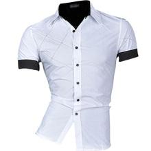2016 Spring Summer Brand-Clothing Mens Fashion Dress Casaul Shirt  Mens Slim Fit Shirts Short Sleeve Shirts Men M L XL XXL Z003(China (Mainland))