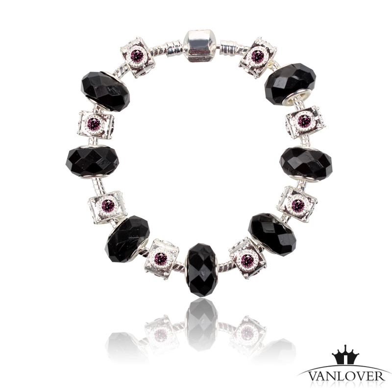 50pcs/lot Fashion 925 Silver Daisies Murano Glass&Crystal European Charm Beads Fits Charm Bracelets PDR025(China (Mainland))