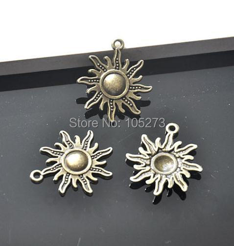 10PCS Antique Bronze Sunflower Sun Flower Charm Pendant 28x23mm - DIY Accessory Jewelry Making(China (Mainland))