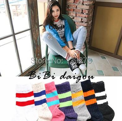 ggorangnae new design Leisure sports striped Sox New Autumn Summer South Korean women's Fashion Cotton tube Socks meias soks(China (Mainland))