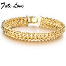 2015 New Fashion Charm Bracelet 18K GOLD Plated cool men gold bracelet link 11MM wedding jewellery(China (Mainland))