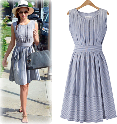 2015 Summer style New fashion women Retro linen Striped casual Sleeveless medium-long dresses vestidos tank dress sashes - Good items, life Store store