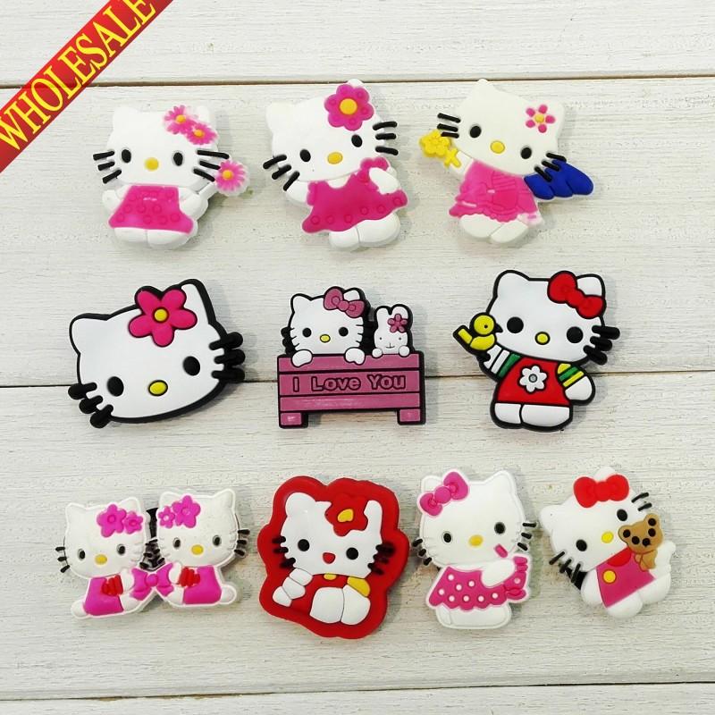 New+Hot,20pcs Hello Kitty kawaii cartoon PVC Shoe Charms For Bracelets,fashion Shoe Accessories ,Shoe Decoration,Party Favors(China (Mainland))