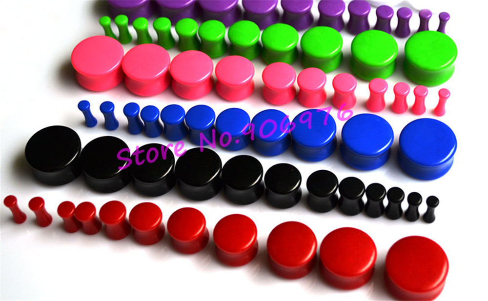 DRUM ACRYLIC FLESH TUNNEL EAR PLUG STRETCHER DOUBLE FLARED - white black 7Color Neon Ear Expander Piercing Fashion Body Jewelry