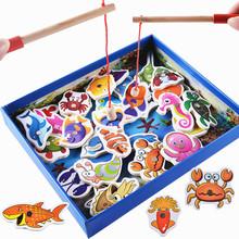 Детские Развивающие Игрушки 32 Шт. Рыбы Деревянные Магнитные Рыбалка Игрушка Набор Рыбы Игры Образовательные Рыбалка Игрушки для Детей День Рождения/Рождество подарок(China (Mainland))