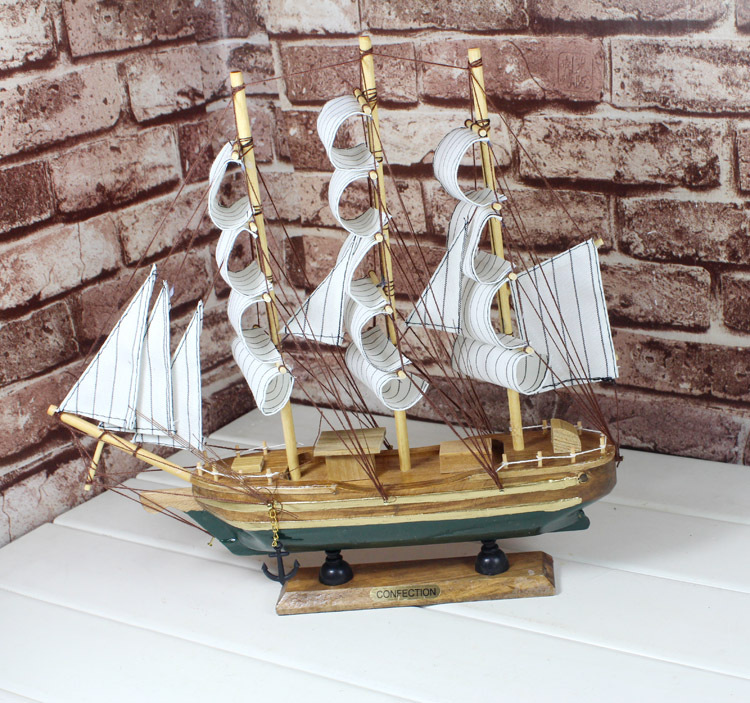2pcs/lot 33cm Sailing Boat Ship Model Sailboat Wooden <font><b>Home</b></font> <font><b>Nautical</b></font> <font><b>Decoration</b></font> Crafts Gift