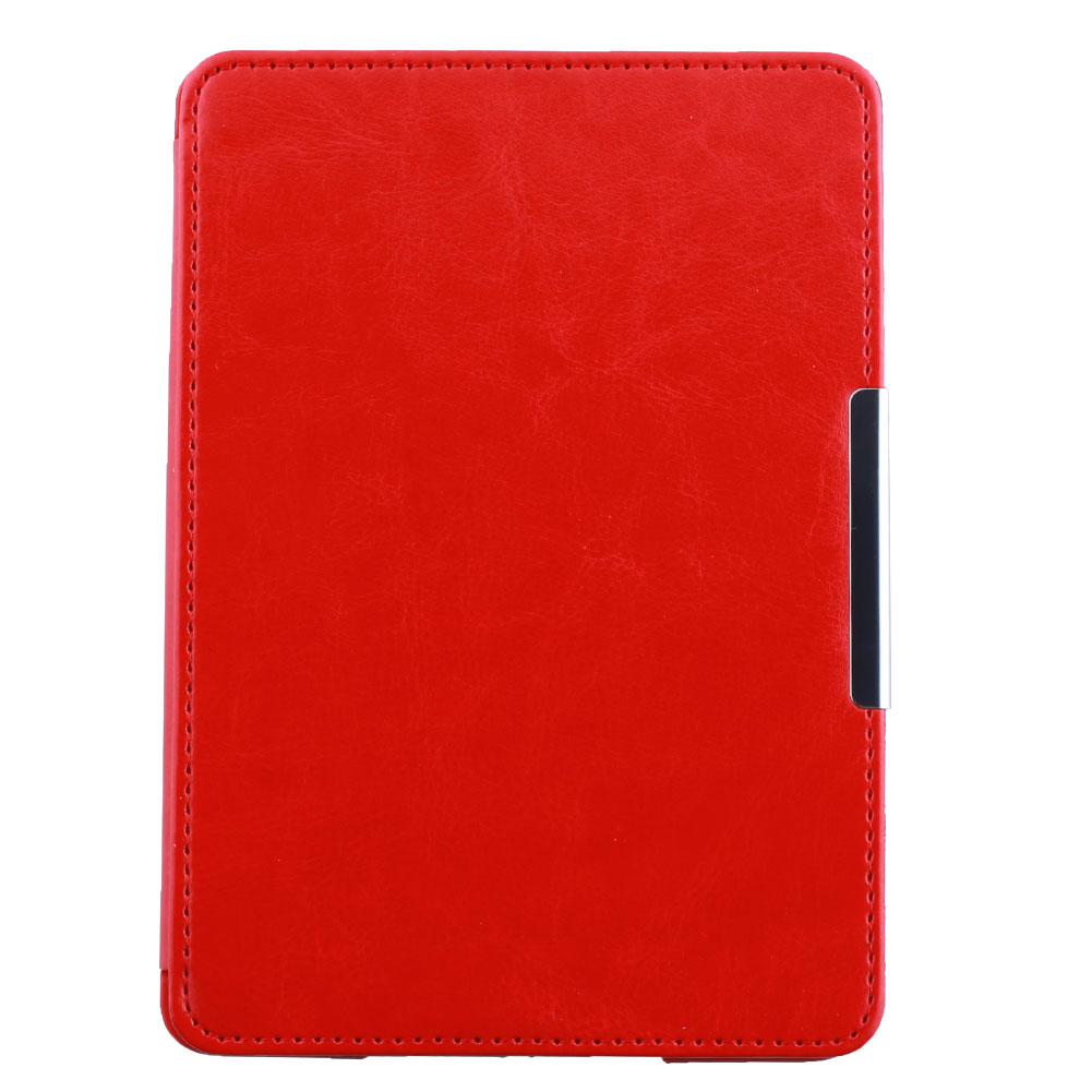 Magnetic Auto Sleep Cover PU Leather Skin Flip Protective eBook Case For Amazon Kindle Paperwhite Red(China (Mainland))