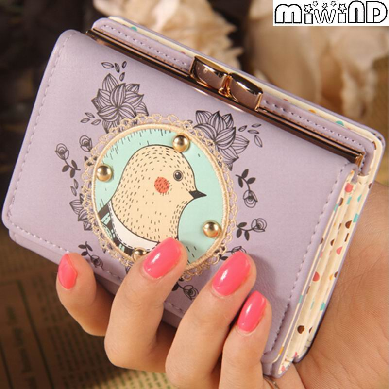 2016 Fashion Lovely Cartoon Female Wallet Leather Small Change Clasp Purse Money Card Coin Holder Carteras Girl Purses(China (Mainland))