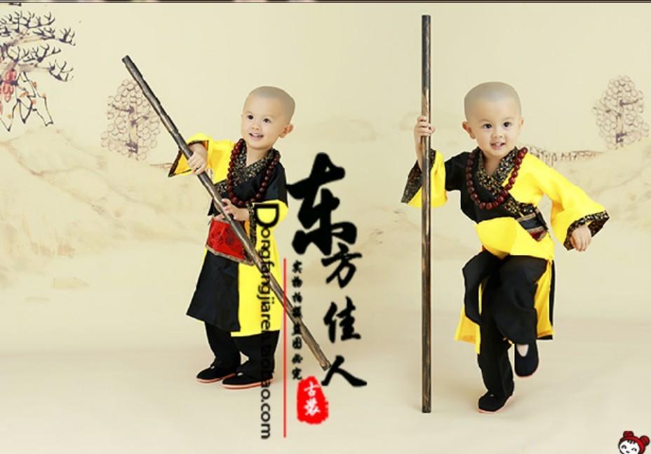 ZuiWoFoMen Drunk Monk Little Monk Chinese Kungfu Martial Art Practise Costume Ancient Chinese Costume Exhibition Costume Boy(China (Mainland))