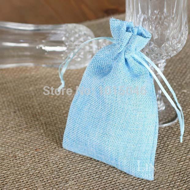 Free Shipping 20 X Blue Like Linen Candy Bag Wedding Favor Candy Box Gift Bag Wedding Decoration(China (Mainland))