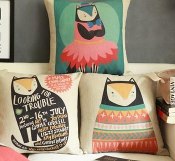 Cotton linen print pillow case 3 pcs/lot set colorful pillows decorate for a sofa 45 45 cm free shipping