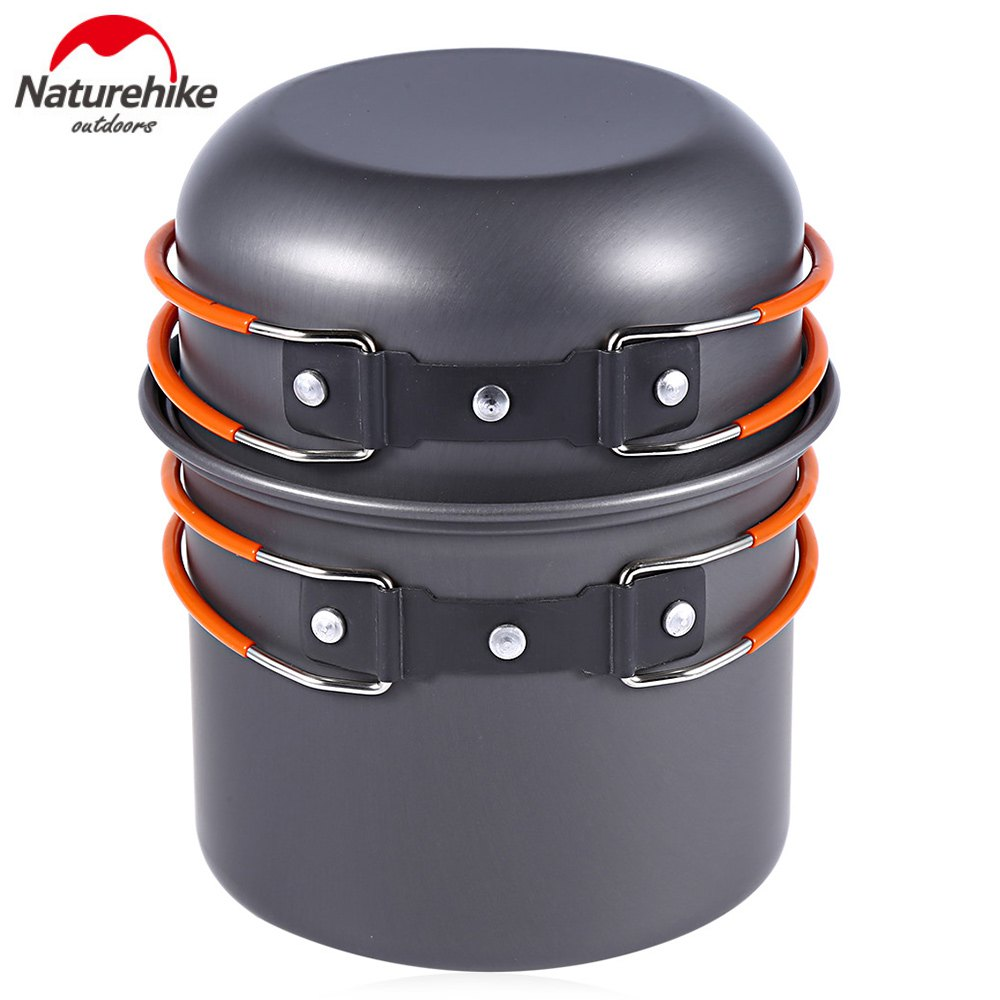NatureHike 4pcs Outdoor tableware set Portable Aluminum Cookware set Cooking Picnic Set Pot Bowl Camping Utensils for camping(China (Mainland))