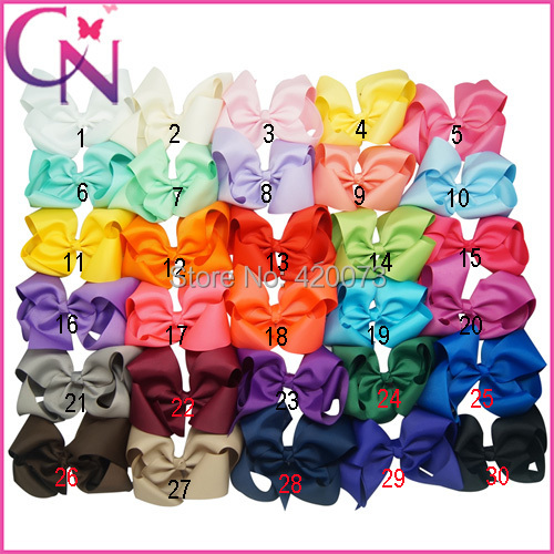 """Free Shipping 40 Pcs/lot 6"""" Solid Hair Bow For Kids,Handmade Hair Bow For Baby,Ribbon Hair Bow WIth Clip For Children(China (Mainland))"""