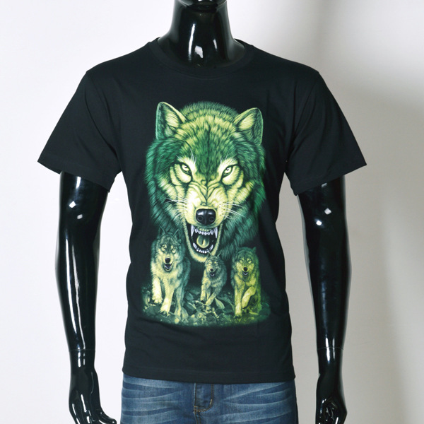 New men's 3D trend printed t shirt forest Wolf short sleeve popular in Europe and America()