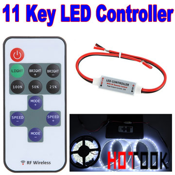 Mini RF LED Controller Single Color Wireless Remote Control led Dimmer mando 5050 / 3528 Led Strip Lights Tiras CE RoHS - HOTOOK Official Store store