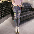 2016 leisure sequin flare ripped skinny jeans women trousers jean femme pantalon femme vaqueros mujer